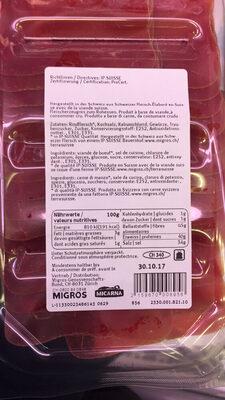 Viande des Grisons - Valori nutrizionali - fr