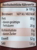 Parmigiano Reggiano - Valori nutrizionali - de