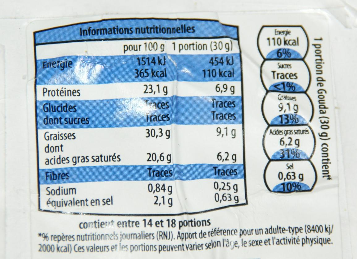 Gouda (31% MG) - Voedingswaarden - fr
