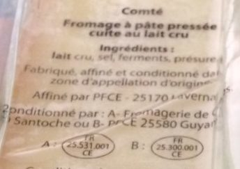 Comté 6 mois - Ingredients