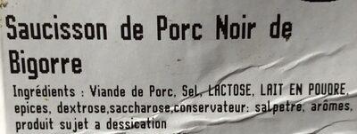 Saucisson de porc noir de bigorre - Ingrédients - fr