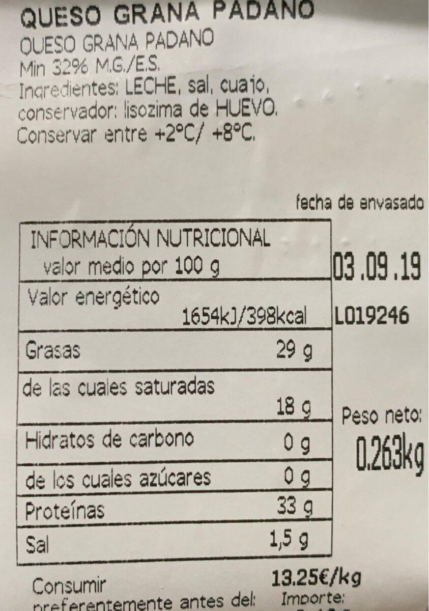 Grana padano - Información nutricional
