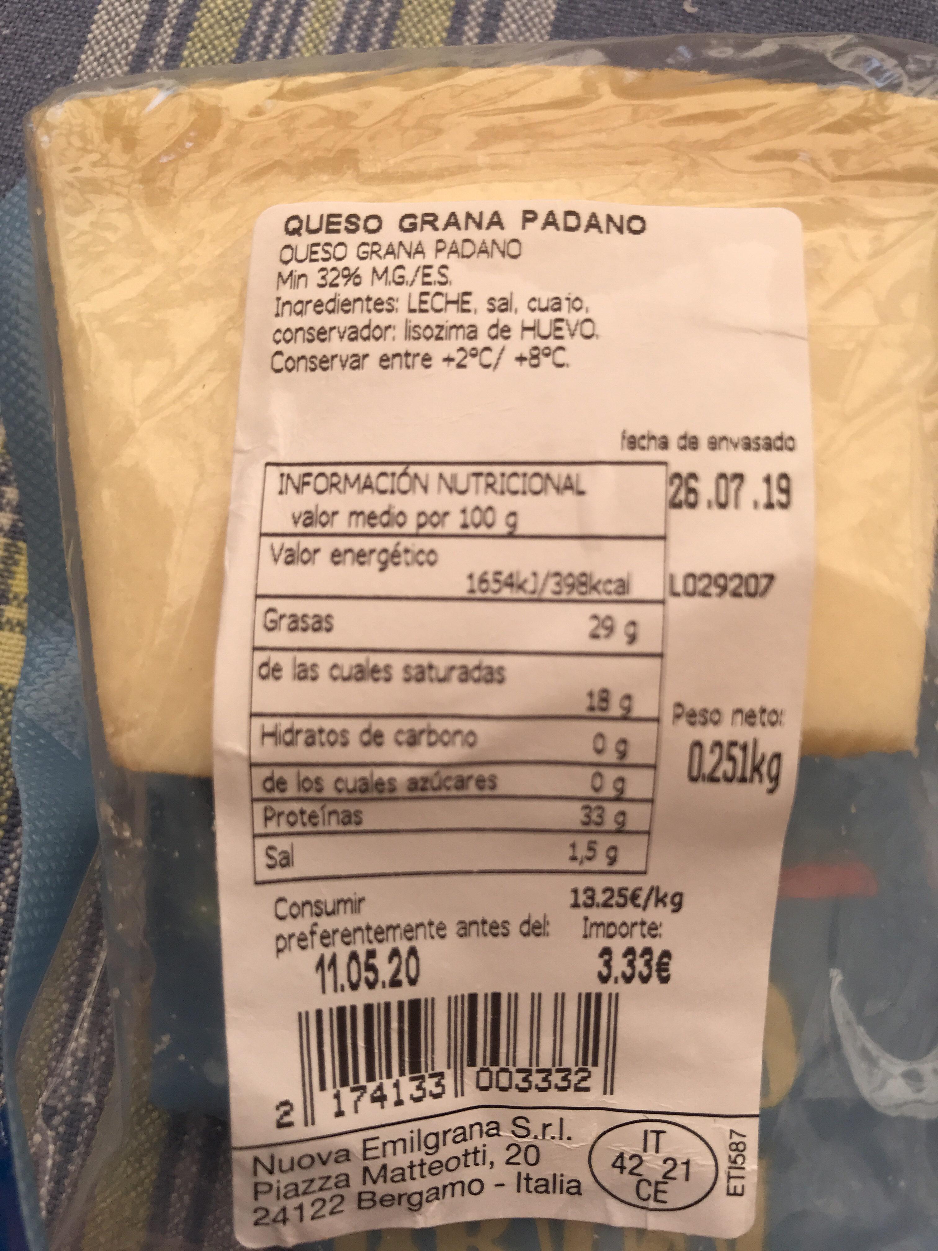Grana Padano Emilgrana - Información nutricional