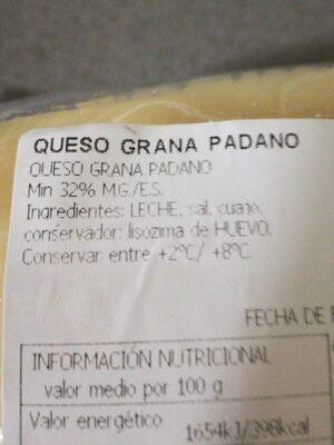 Queso Grana Padano - Información nutricional