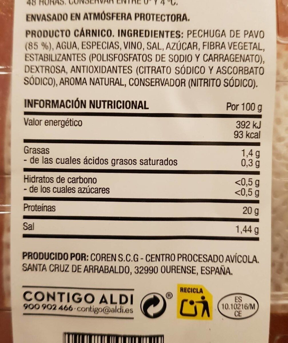 Pechugas de Pavo al Pimenton - Informations nutritionnelles