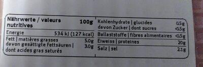 Hinterschinken Gourmet - Valori nutrizionali - fr