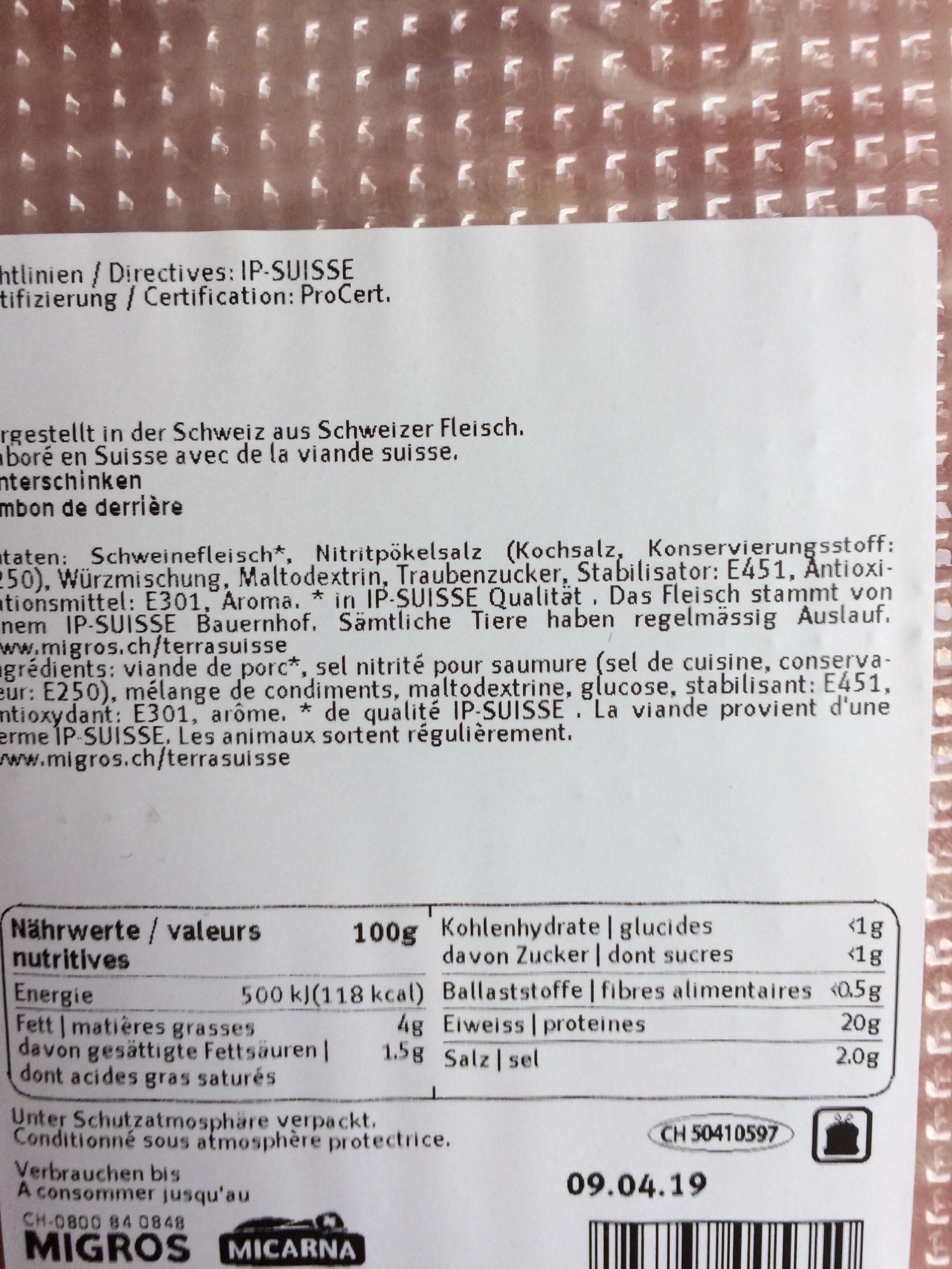Jambon de Derrière - Valori nutrizionali - fr