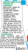 Spécialité laitière semi épaisse 4% - Ingredients - fr