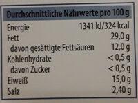Delikatess Bacon Frühstücksspeck in Scheiben - Informations nutritionnelles