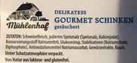 Mühlenhof Gourmet Schinken - Ingrédients - fr