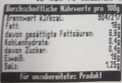 Tannenzäpfle Steak - Nutrition facts - de