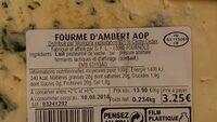 Fourme d'Ambert AOP - Ingrédients - fr