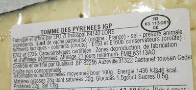 Tomme des pyrénées - Ingredienti - fr