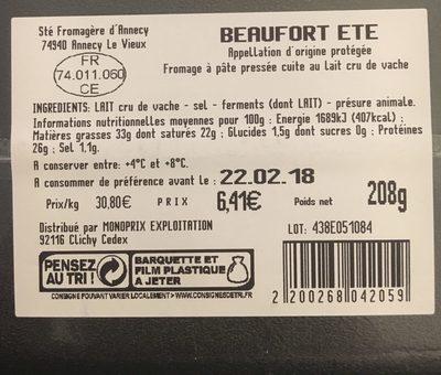 Beaufort été - Ingrédients