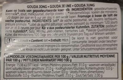 bloc gouda jeune - Ingrediënten