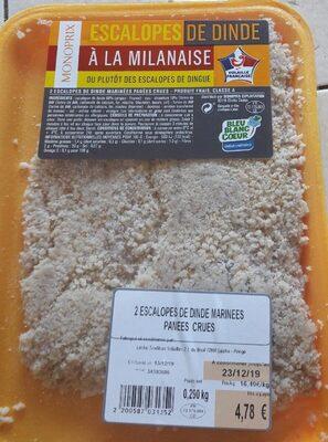 Escalopes de dinde marinees panees crues - Produit