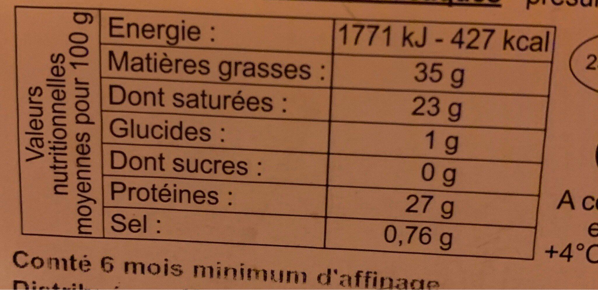 comté au lait cru - Nutrition facts - fr