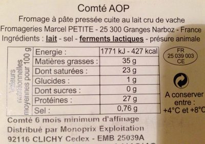 COMTÉ AU LAUT CRU AOC - Ingrédients - fr