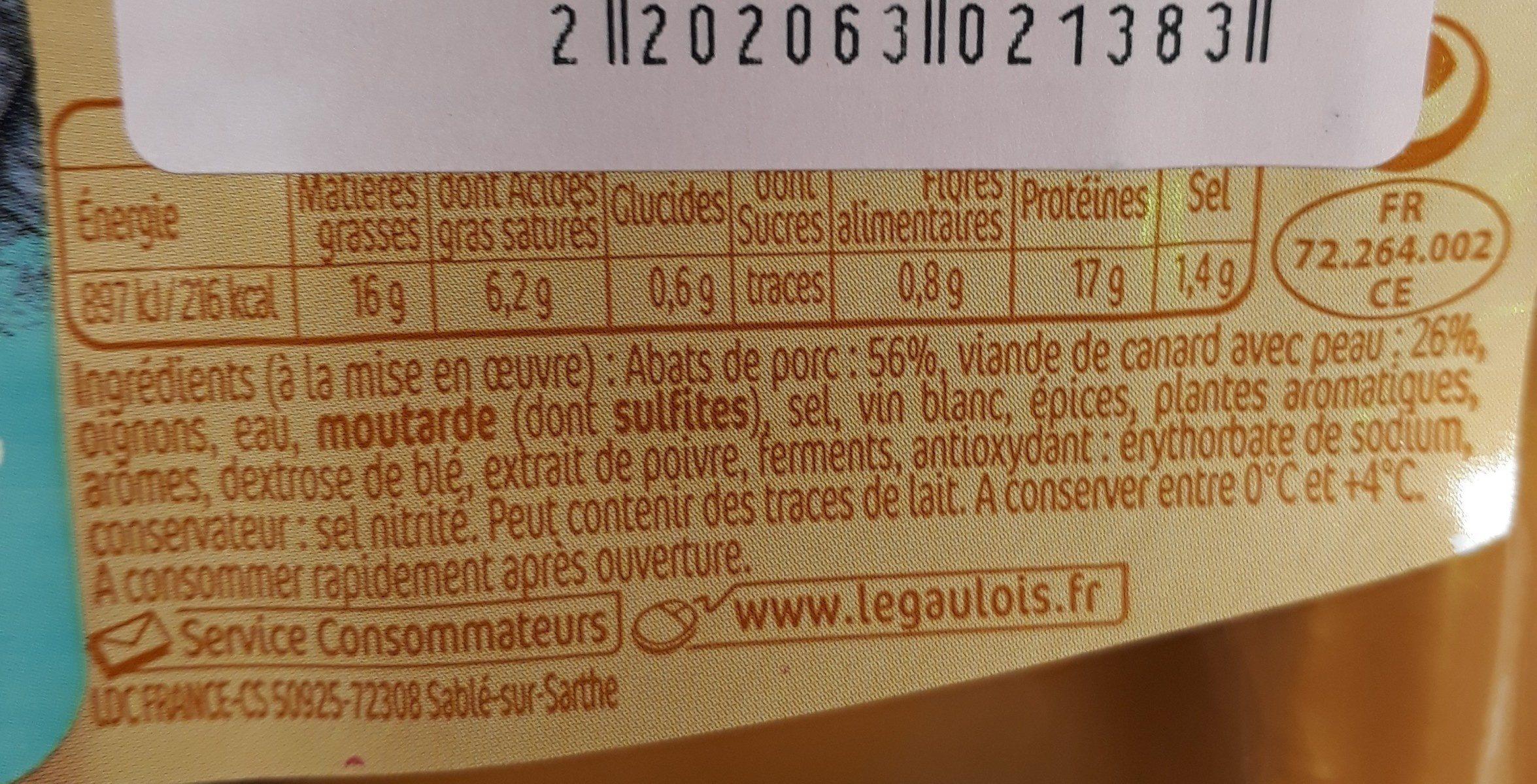 Andouillettes au canard - Ingrédients - fr