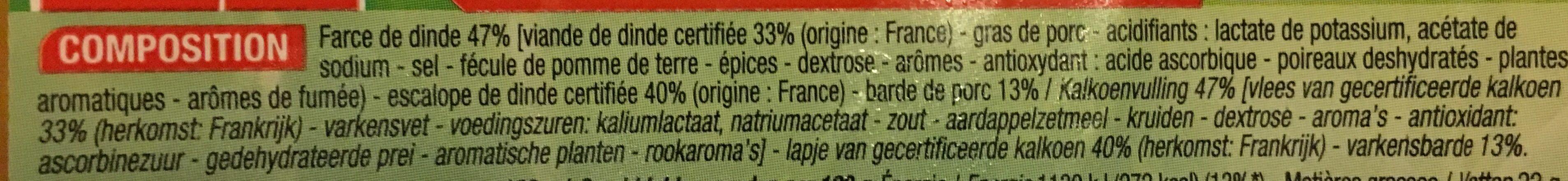 4 Paupiettes de Dinde - Ingrédients - fr