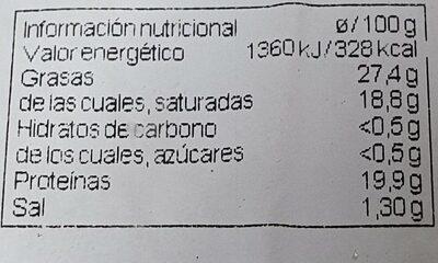 Reblochon cremoso - Informació nutricional - es