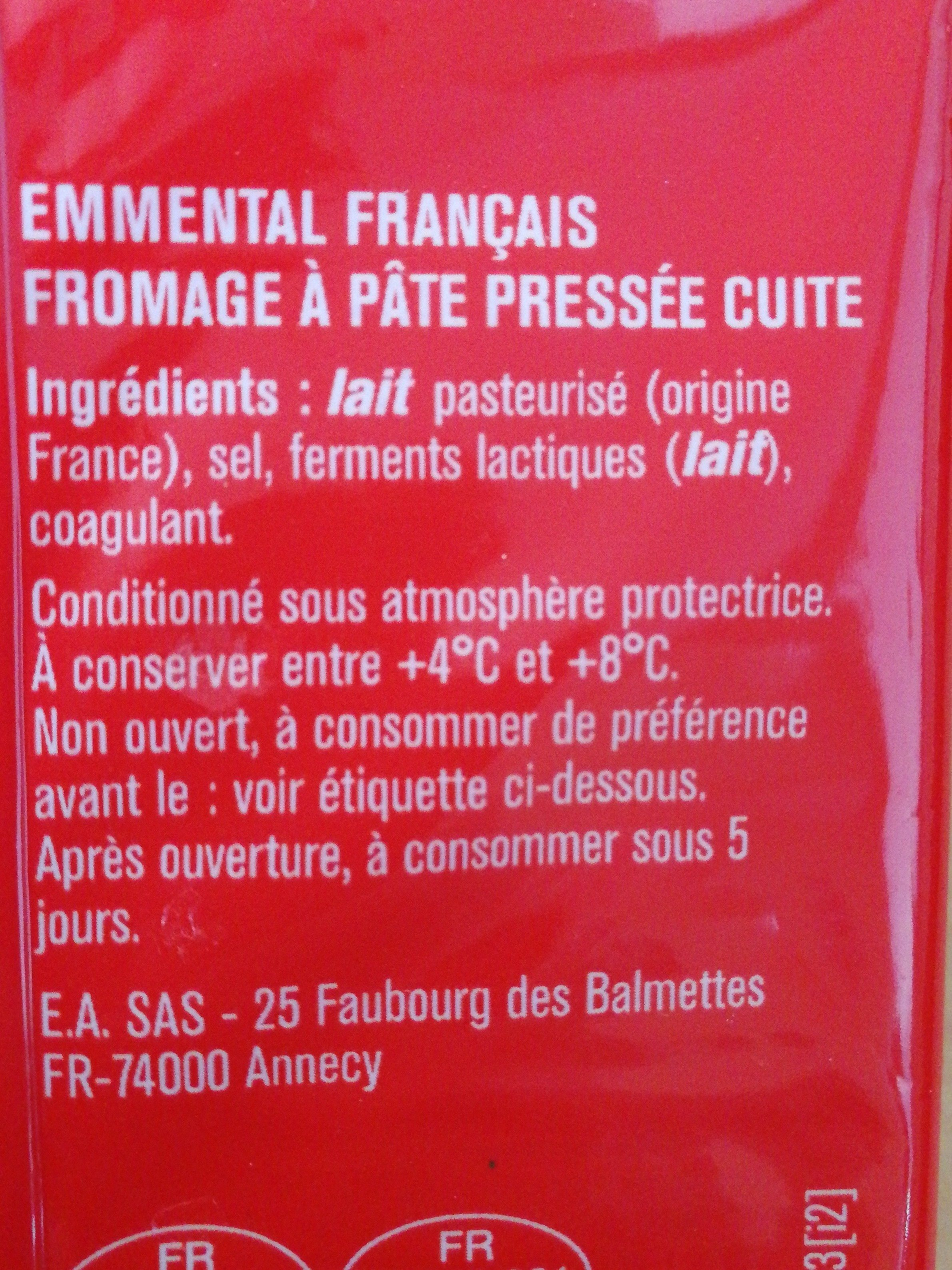 Emmental - Ingrédients - fr