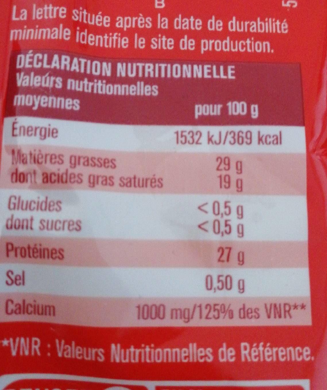Emmental - Informations nutritionnelles - fr