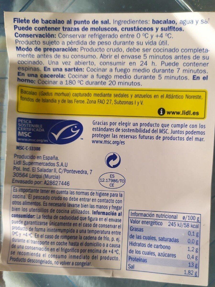 Filete de bacalao al punto de sal - Informazioni nutrizionali - es