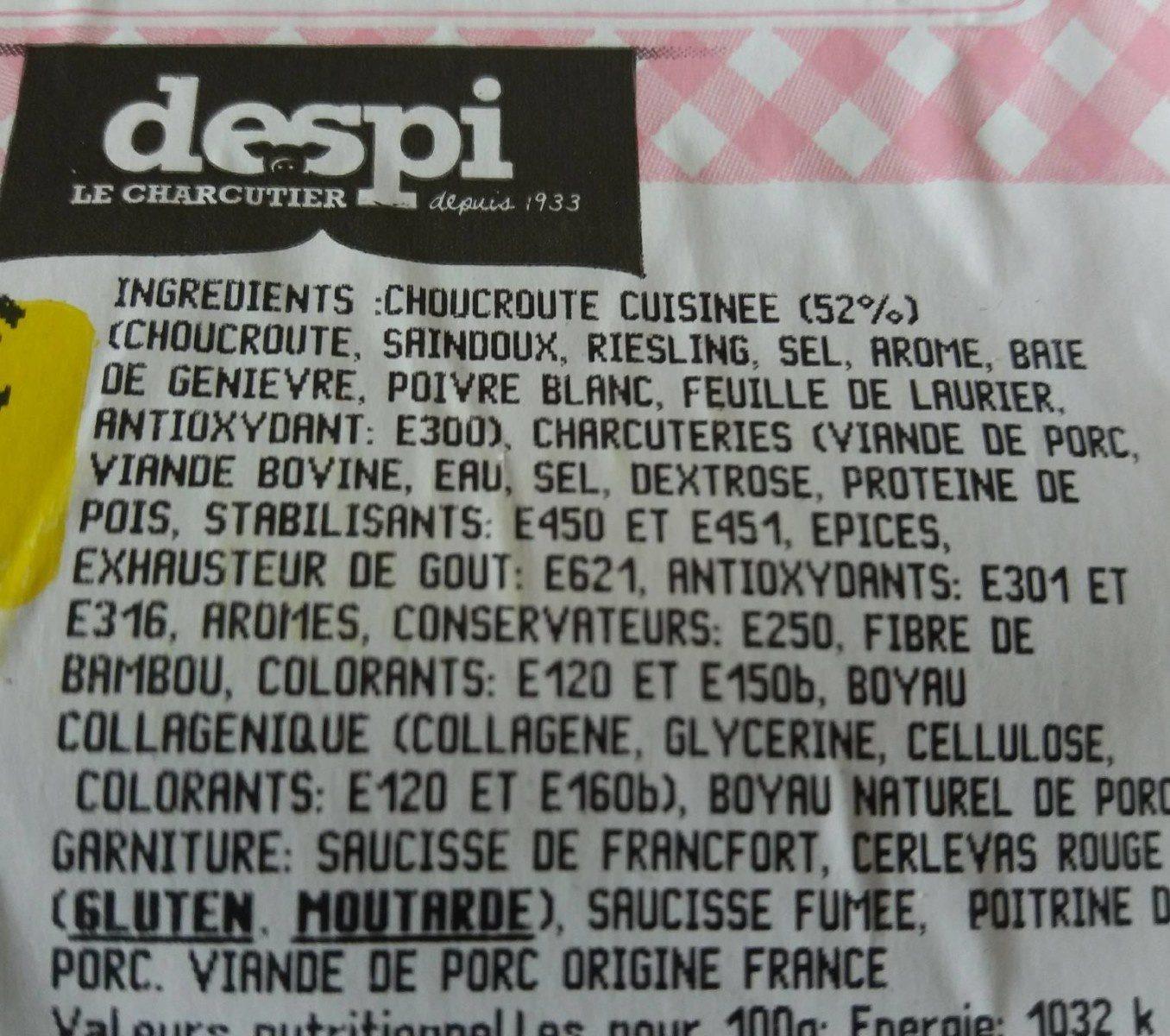 Choucroute garnie - Ingrédients - fr