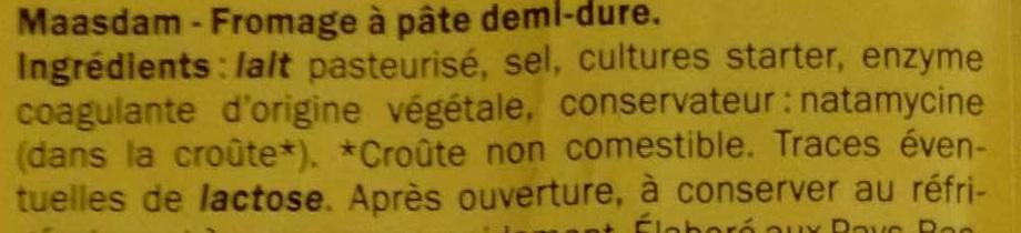 Maasdam (27% MG) - Ingrediënten - fr