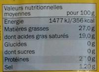Maasdam (27% MG) - Voedingswaarden - fr