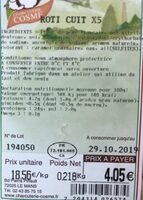 Roti cuit - Nutrition facts