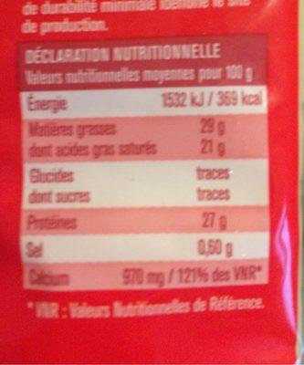 Emmental francais - Nutrition facts
