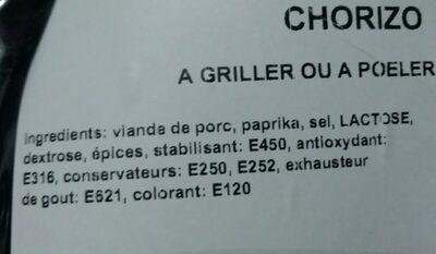 Chorizo - Ingrediënten - fr