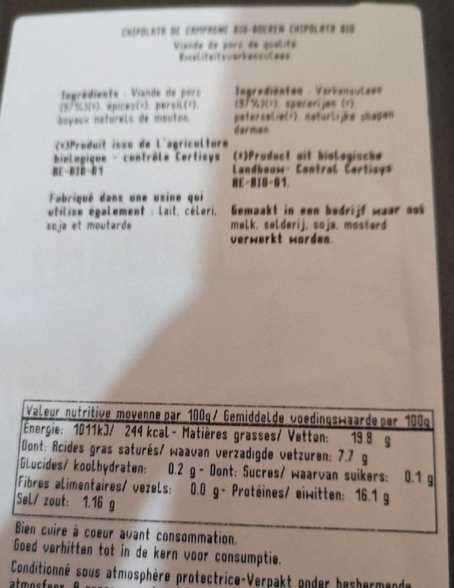 Chipolatas campagne bio - Informations nutritionnelles - fr