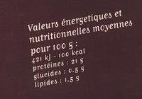 Bison (2 Pavés de Bison dans le Cuissot) - Informations nutritionnelles - fr
