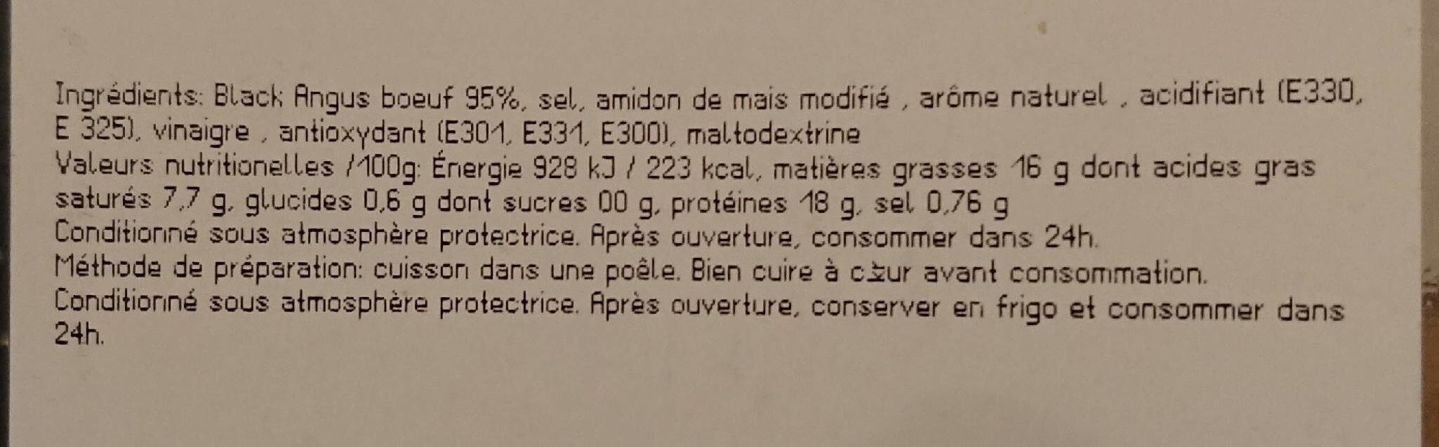 Butchers' Burger Angus - Nutrition facts