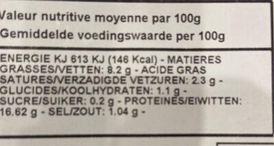 Chipolata de produit - Informations nutritionnelles - fr