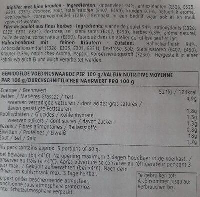 Filet de poulet fines herbes - Nährwertangaben