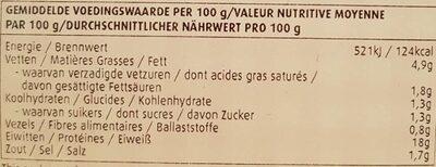 Filet de poulet delhaize - Voedingswaarden
