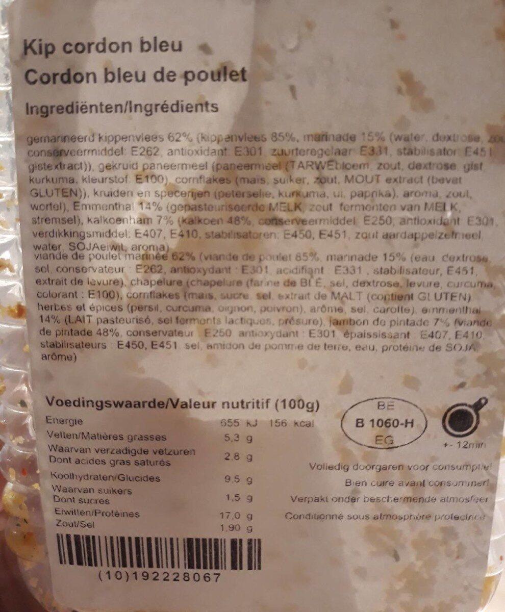 Cordon bleu de poulet - Voedingswaarden