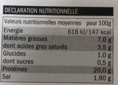 Jambon Traditionnel Fumé au Bois de Hêtre - Informations nutritionnelles
