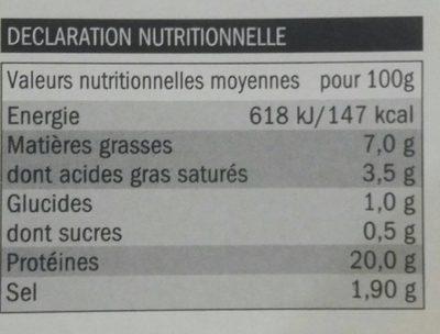 Jambon Traditionnel Fumé au Bois de Hêtre - Nutrition facts