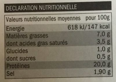 Jambon traditionnel - Informations nutritionnelles