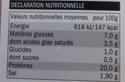 Jambon Cuit Fumé Tradition - Informations nutritionnelles