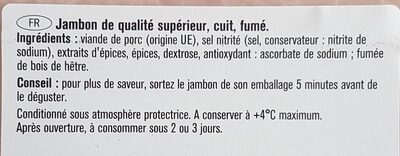 Jambon traditionnel fumé au bois de hêtre - Ingrédients - fr