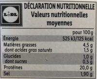 Jambon traditionnel - Informations nutritionnelles - fr