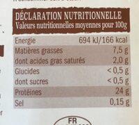 Poulet fermier jaune - Valori nutrizionali - fr