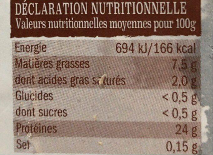 Poulet fermier jaune label rouge - Valori nutrizionali - fr