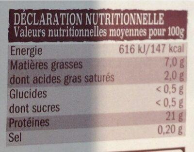 Poulet fermier - Valori nutrizionali - fr